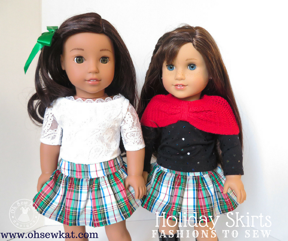 Sew a holiday skirt for your dolls with free pattern from Oh Sew Kat! #freepattern #sewingpattern #dollskirt #pdfpattern