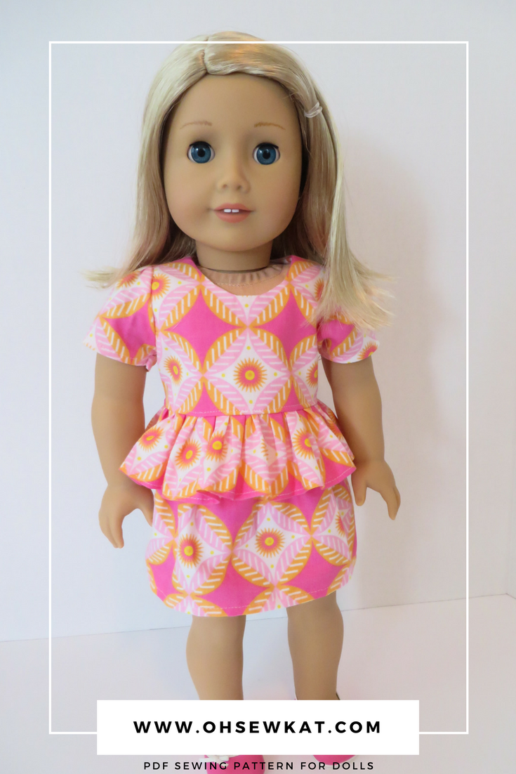 Sew your own doll clothes with easy PDF sewing patterns by OhSewKat! #ohsewkat #sugarnspice #18inchdolls #americangirl