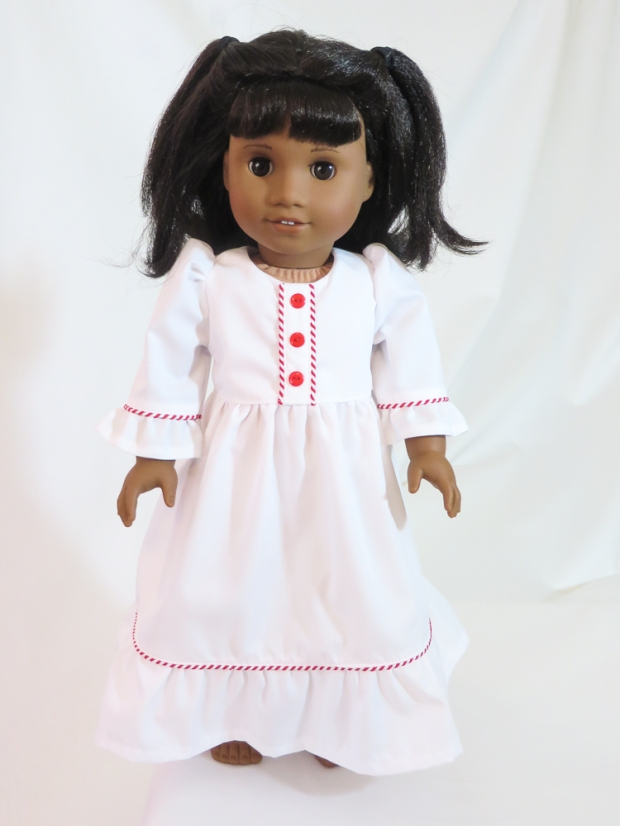 Sew a Clara inspired Nightgown! Dress sewing pattern for 18 inch American Girl dolls by Oh Sew Kat! PDF patterns to diy doll clothes. #ohsewkat #dollclothes #sewingpattern #18inchdolls #easypatterns