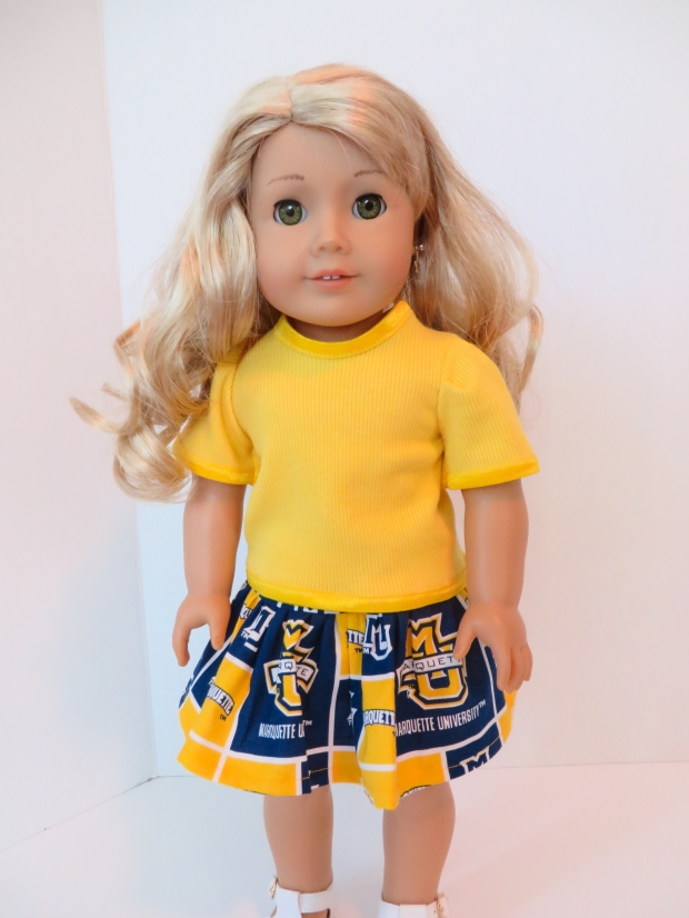 Marquette University Doll Skirt by Oh Sew Kat!
