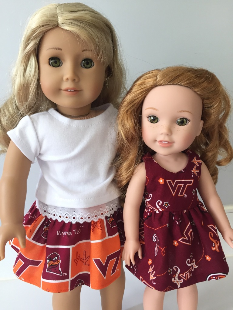 Game Day Virginia Tech (VT) doll outfits made with easy sewing patterns from OhSewKat