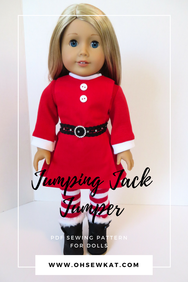 Easy Santa doll outfit sewing pattern by oh Sew Kat! #holidaycrafts #sewingpattern #pdfpattern #americangirl #dollclothes #ohsewkat #santadress