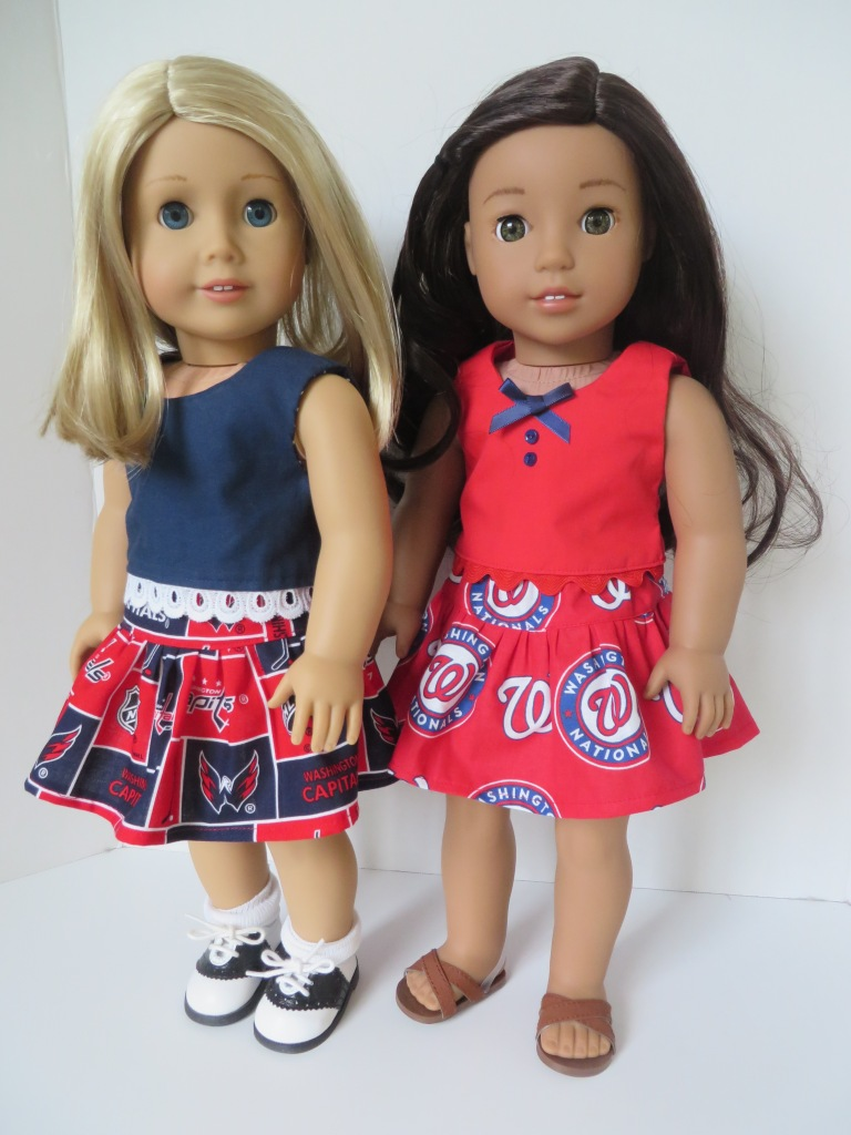 Free skirt pattern for dolls by Oh Sew Kat! Make an easy skirt with this free Four Season Skirt pattern for 18 inch dolls like American Girl. #freeskirtpattern #ohsewkat