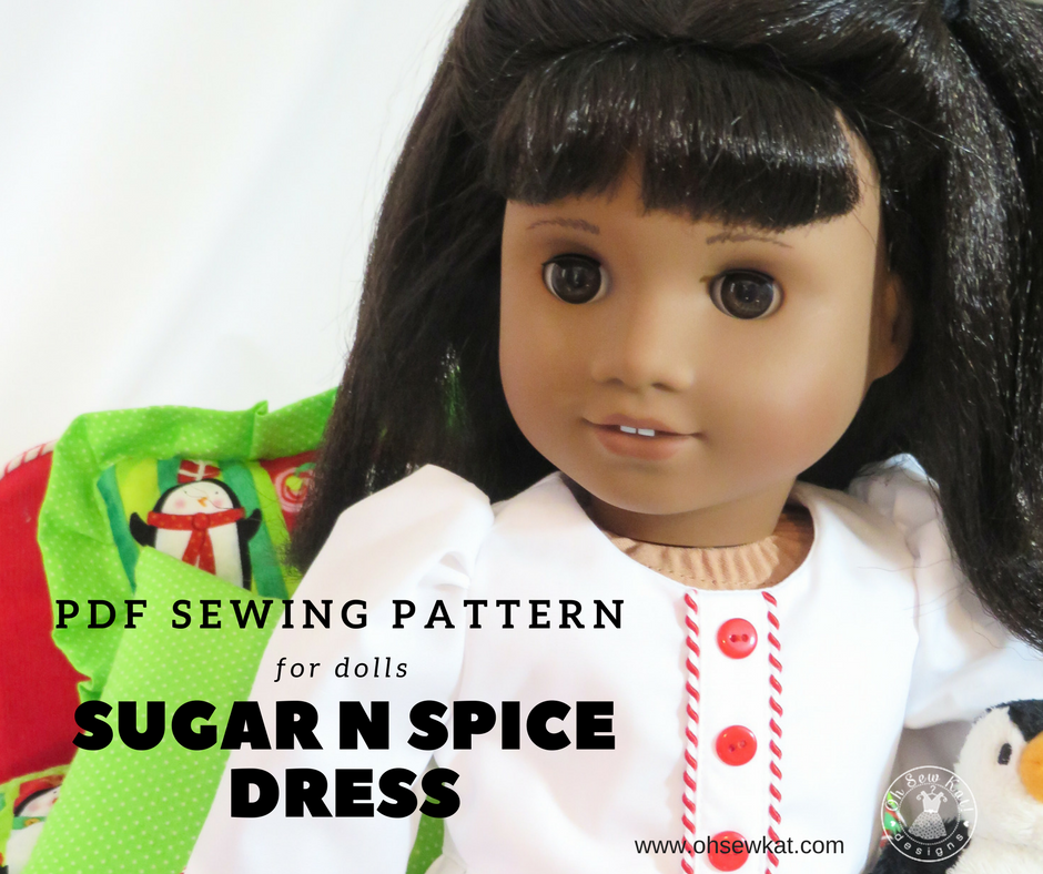 Try this nightgown pattern hack of Sugar n Spice Dress sewing pattern by Oh Sew Kat! Easy sewing tutorial at www.ohsewkat.com to make a Clara inspired Nightgown for dolls. #ohsewkat #clara #nutcracker #dollclothes #sewingpattern