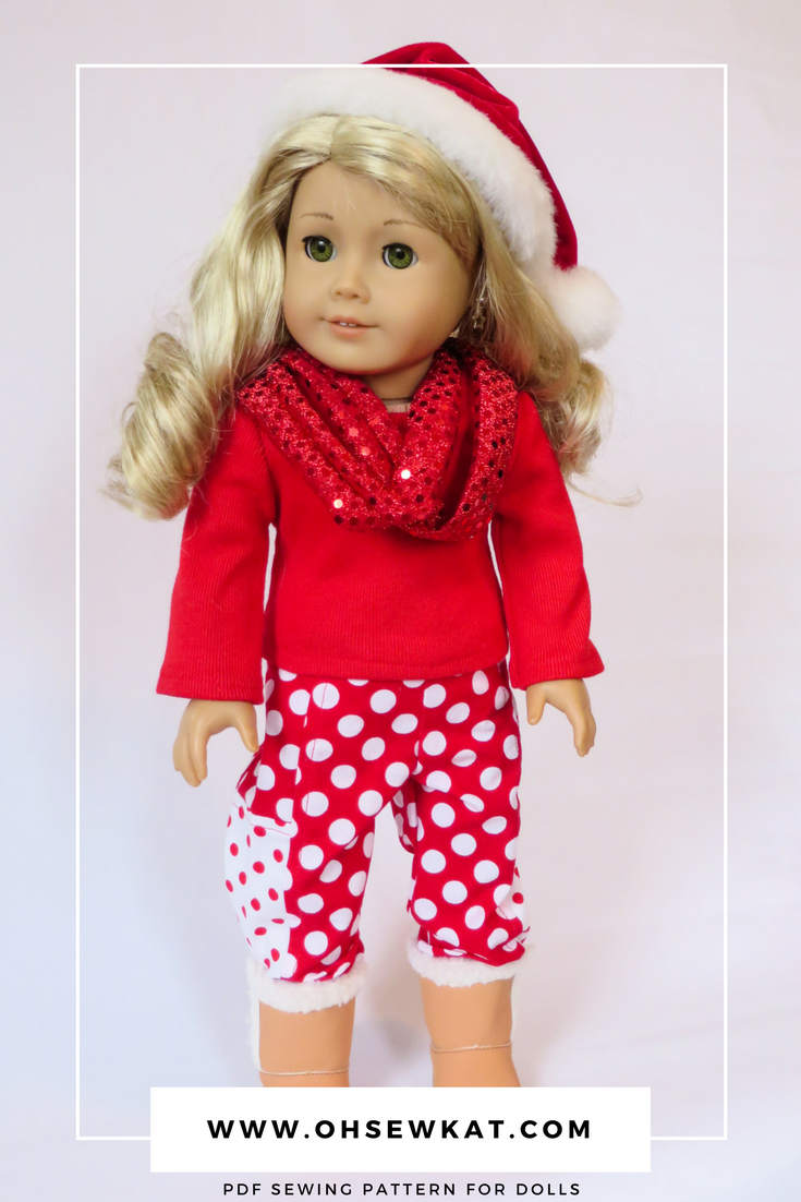 Easy beginner sewing pattern for 18 inch American Girl dolls by Oh Sew Kat! PDF patterns to diy doll clothes. #ohsewkat #dollclothes #sewingpattern #18inchdolls #easypatterns