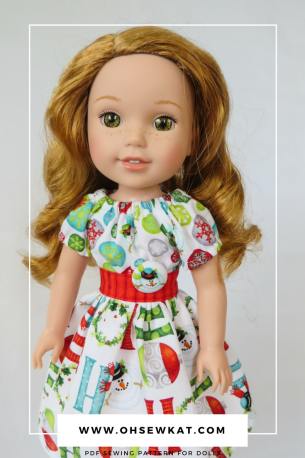 Holiday doll dresses with Oh Sew Kat! sewing patterns (2)