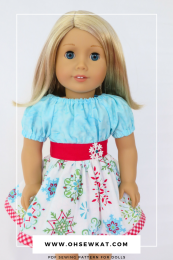 Easy Party Time Dress sewing pattern for 18 inch American Girl dolls by Oh Sew Kat! PDF patterns to diy doll clothes. #ohsewkat #dollclothes #sewingpattern #18inchdolls #easypatterns