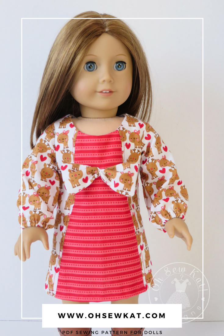 Easy sewing pattern for 18 inch dolls by Oh Sew Kat! Printable patterns PDF patterns School Dance Dress for dolls #ohsewkat #sewingpatterns #dollclothes #easypatterns