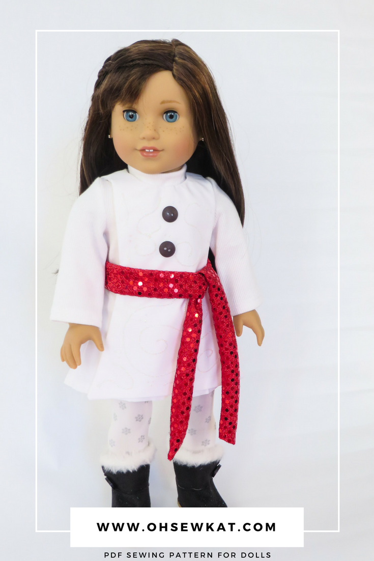 Snowman doll outfit sewing pattern for 18 inch American Girl dolls by Oh Sew Kat! Jumping Jack 1970s fashions for dolls. #ohsewkat #jumpingjack #70sdollclothes #sewingpattern #pdfpattern