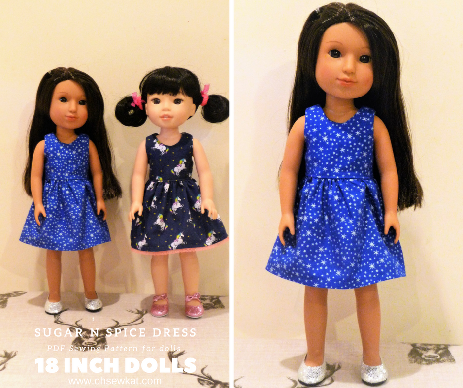 Holiday Dresses for dolls sewing patterns by oh sew kat