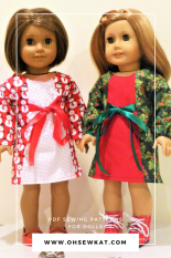 Holiday dresses for dolls by Oh Sew Kat!