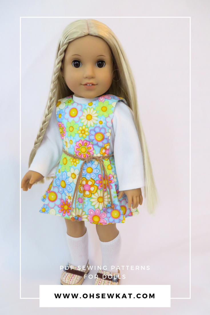Julie Albright American Girl Doll in a 1970s pantskirt outfit with turtleneck shirt and shorts.