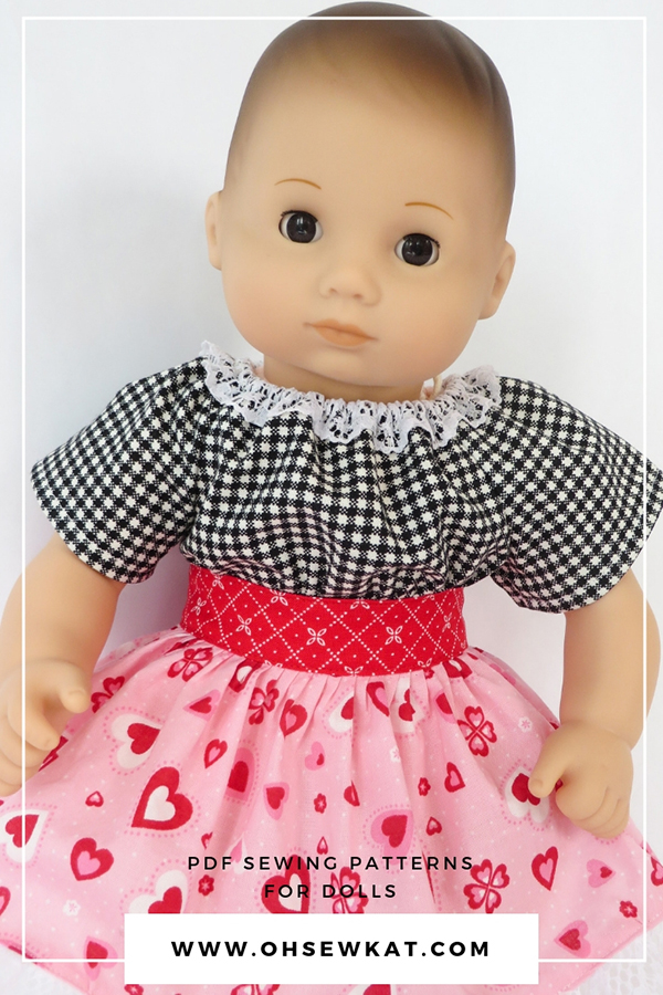 Find sewing patterns to make bitty baby bitty twins dolls clothes at ohsewkat.com. Easy to sew PDF sewing patterns for dolls. #sewingpatterns #bittybaby #ohsewkat #bittytwins