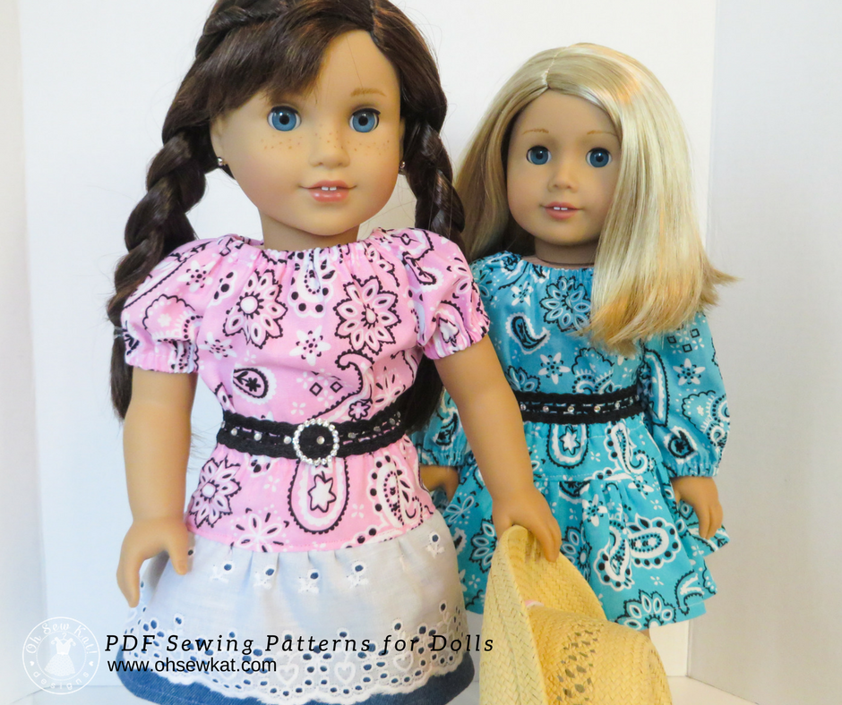 Grace Thomas doll in bandana peasant top with blonde 18 inch doll in skirt and blouse