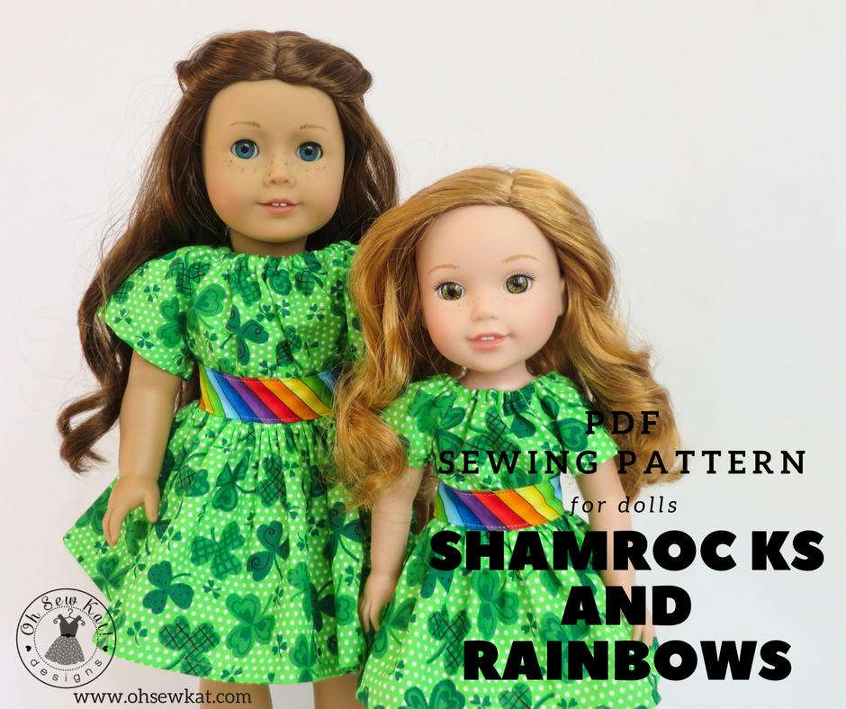 Make your own diy doll clothes with easy sewing PDF digital sewing patterns by OH Sew Kat.  Make doll clothes for 18 inch dolls, Wellie wishers, bitty Baby, a Girl for all time, and Animators.  Easy sewing patterns with full photo tutorials.