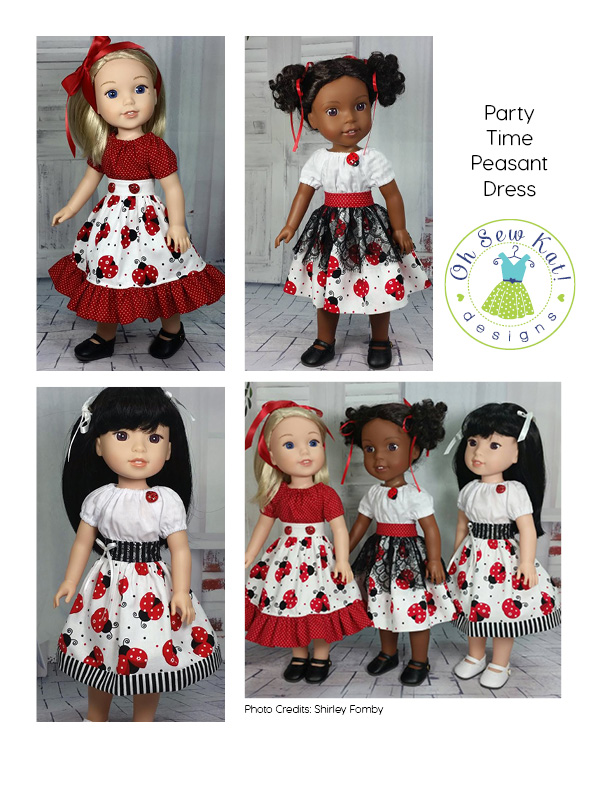 Collage of four photos of Wellie WIshers dolls in ladybug dresses