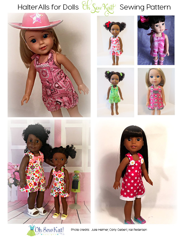 Photo collage of 7 photos of dolls in overalls