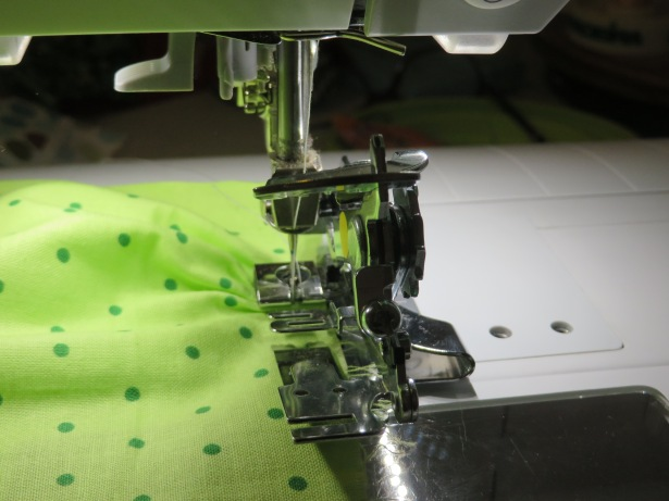 Bernina ruffler foot sewing a doll skirt