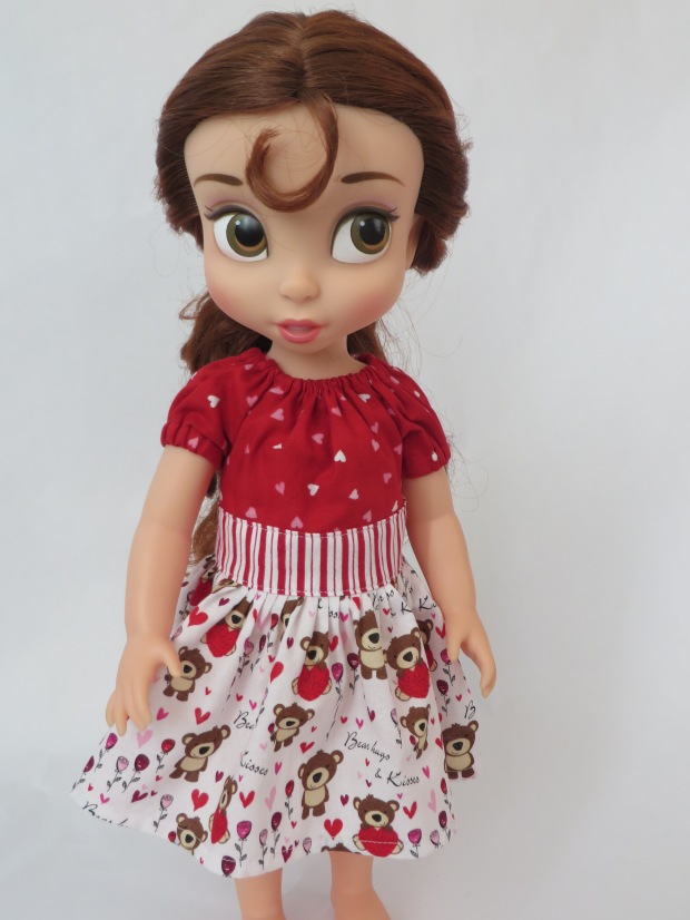 Make a pretty peasant doll dress for 16 inch dolls like Disney Animators with easy sewing patterns by Oh Sew Kat! #sewingpatterns #dollclothes #animators #belle