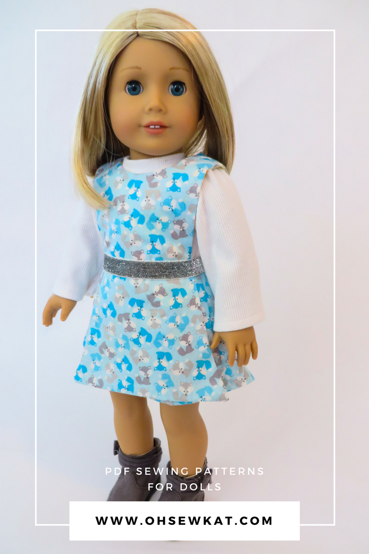 Make a 70s style pantskirt outfit for your 18 inch or 14 inch doll with the Jumping Jack 3 in 1 Jumper Set sewing pattern from Oh Sew kat!  PDF digital doll clothes pattern includes shorts, turtleneck shirt, and button or belt on apron style jumper.  #dollclothes #sewingpattern #70soutfit