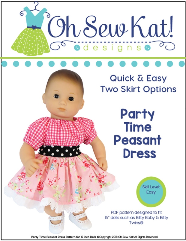 PDF Sewing Pattern for Bitty Baby Doll in a pink dress