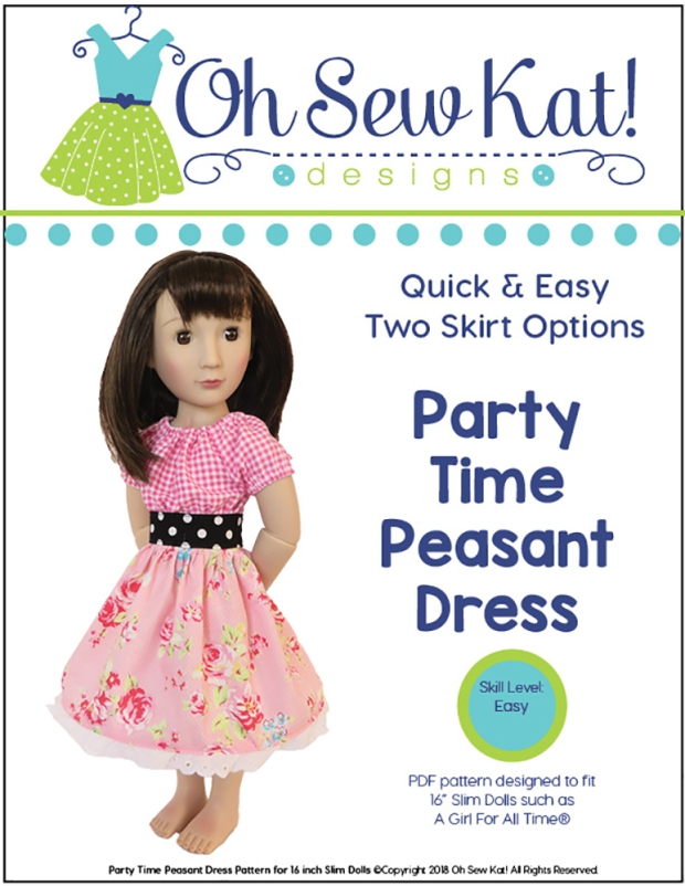 Pink party dress on a girl for all time doll sewing pattern cover