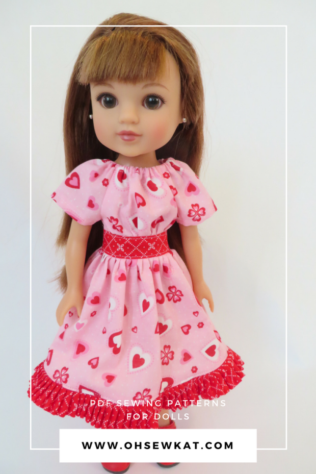 Hearts for hearts doll wearing a pink valentine dress with hearts