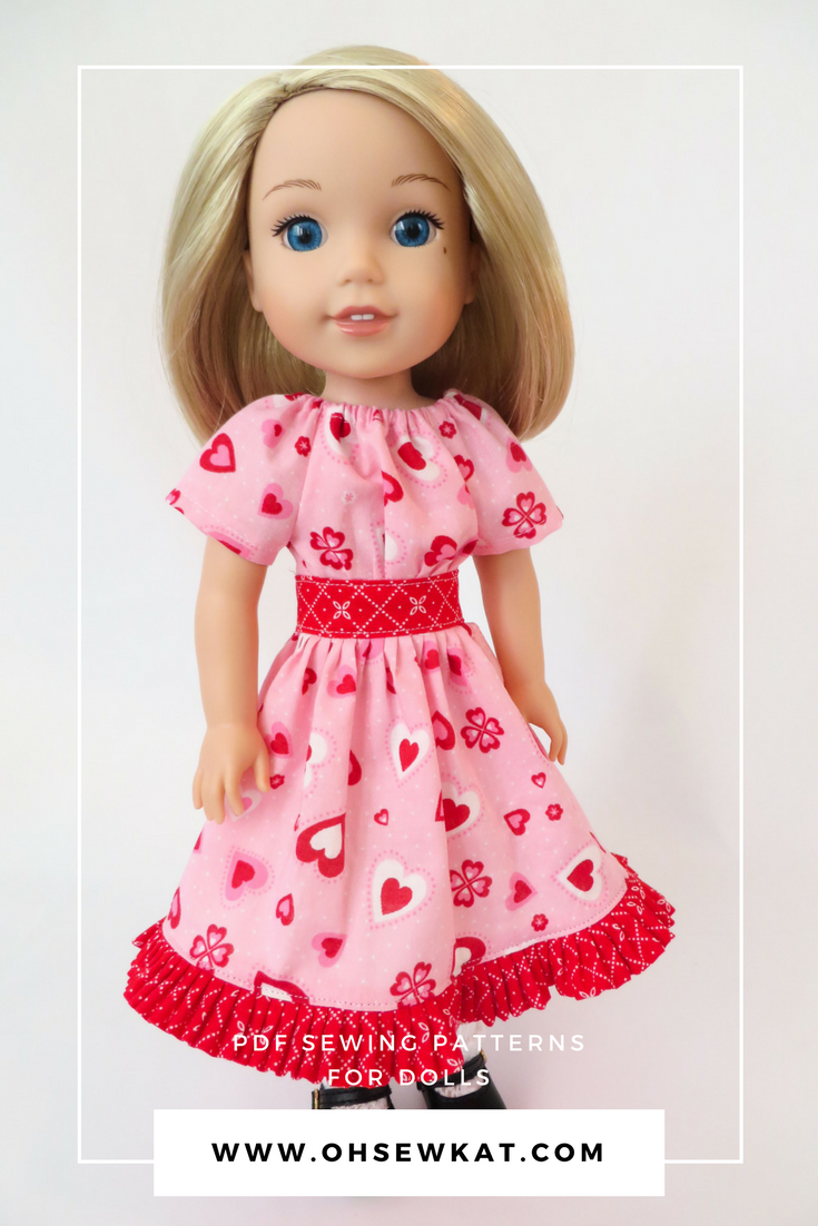 Wellie wishers doll in pink valentine dress