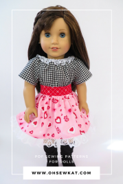 American Girl Doll dressed in valentines day dress with hearts