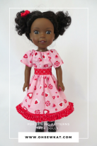 Party Time Doll Dress for Valentines Day sewing pattern by Oh Sew Kat!