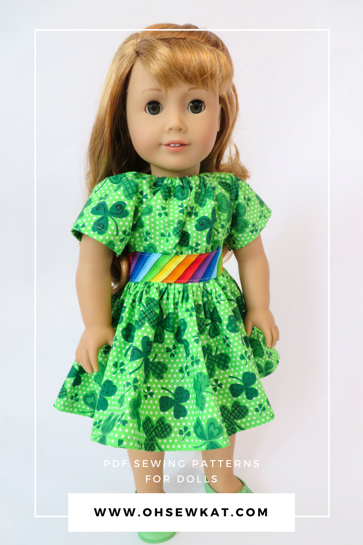 Make your own diy doll clothes with easy sewing PDF digital sewing patterns by OH Sew Kat.  Make doll clothes for 18 inch dolls, Wellie wishers, bitty Baby, a Girl for all time, and Animators.  Easy sewing patterns with full photo tutorials.  #stpatricksdaycraft