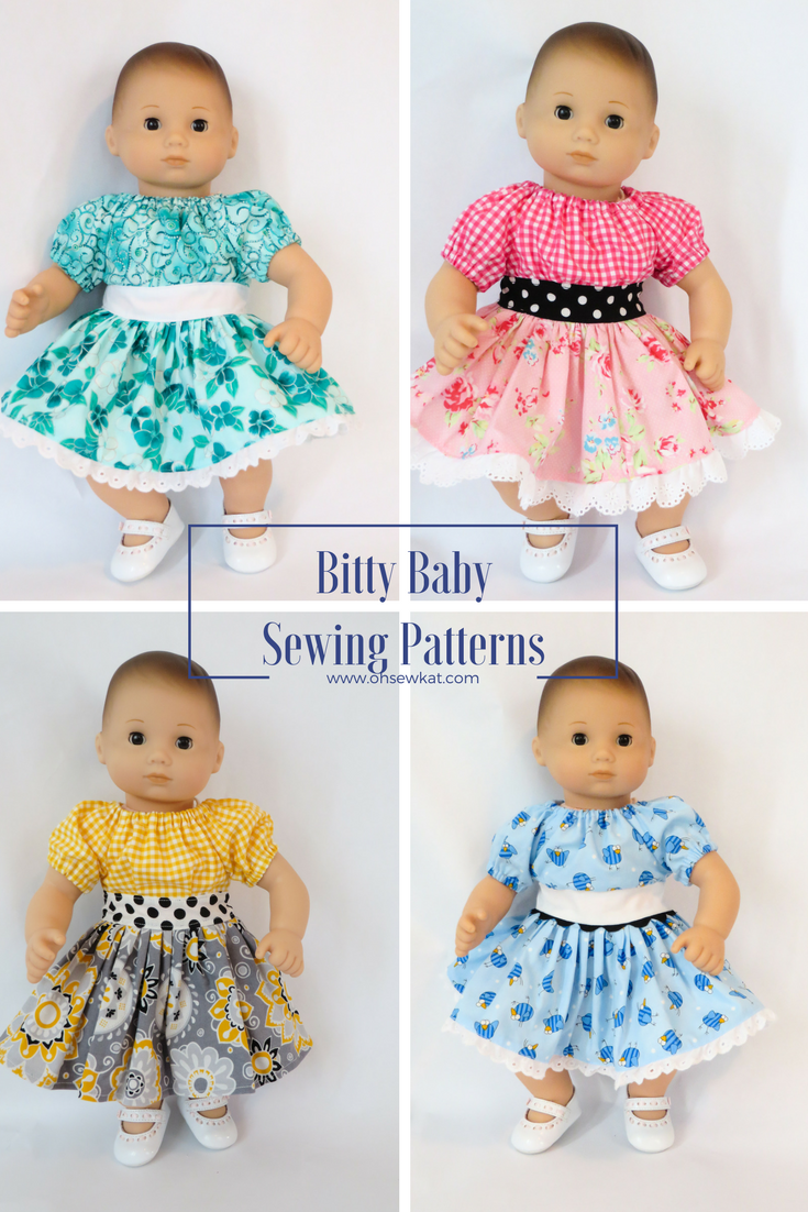 Collage of four bitty baby dolls in different colored Party Time dresses