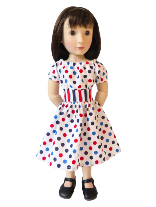 A Girl for All Time doll Sam in 4th of July party time dress