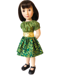 Make a cute holiday outfit for your A Girl for All Time dolls with easy PDF sewing patterns from Oh Sew Kat! Free skirt pattern for subscribers. #diyholiday #holidaycrafts #dollclothes #ohsewkat #sewingpattern