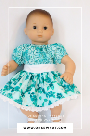 Make bitty baby doll clothes with easy pdf sewing patterns from Oh Sew Kat! Great for beginners, also fits Bitty Twins.