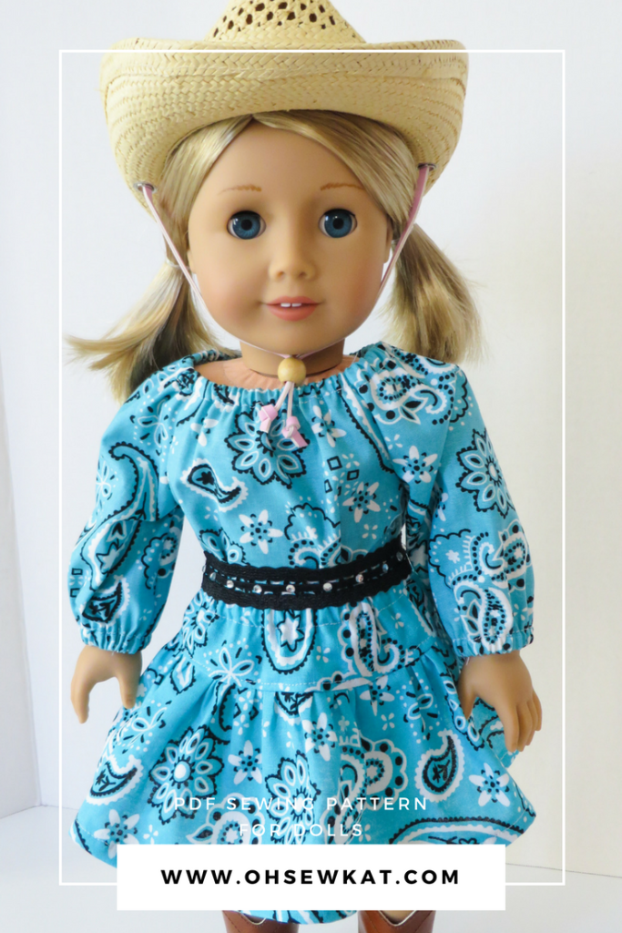American girl doll blonde with bandana dress and cowboy hat