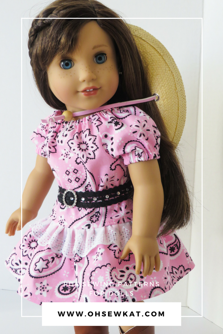 Make a Country western cowgirl outfit for 18 inch dolls with easy PDF sewing patterns from OhSewKat. #ohsewkat #playtimepeasant #sewingpattern #freeskirt #freepattern #easytutorial