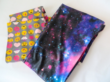 Emoji and galaxy knit fabric