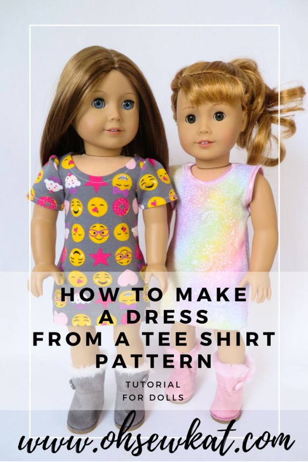 Tee shirt dress tutorial for dolls like American Girl by oh sew kat