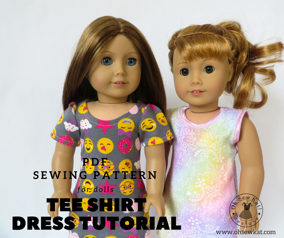 American Girl dolls in colorful emoji tee shirt dresses