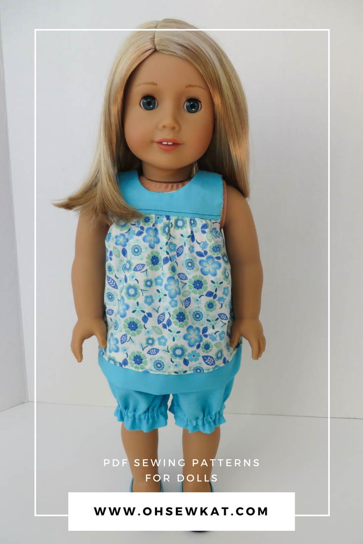 Make a spring dress for your 18 inch American Girl doll with the easy to sew Bloomer Buddies PDF sewing pattern by oh Sew Kat!  #dollclothes #18inch #americangirldoll