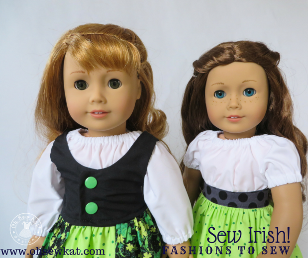 Sewing patterns for 18 inch dolls by oh sew katMake a Party Time Peasant Dress for your 18 inch American Girl doll for St Patrick's Day. Find the easy PDF print at home sewing pattern at ohsewkat.com. #irish #dolldress #18inch #sewingpattern #irishcraft