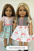 """Make an Easter dress for your 18"""" doll with easy sewing patterns by OhSewKat! Download, print and sew the best PDF doll patterns today. Try a free skirt pattern at www.ohsewkat.com, and find tutorials and pattern hacks. #ohsewkat #sewing #easterdress #dollclothes #18inchdoll"""