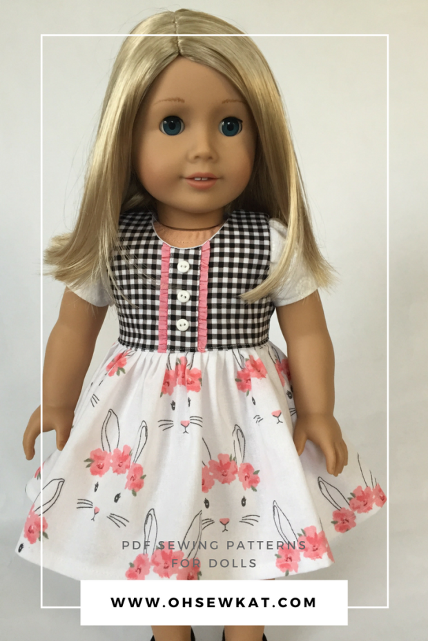 "Make an Easter dress for your 18"" doll with easy sewing patterns by OhSewKat!  Download, print and sew the best PDF doll patterns today.  Try a free skirt pattern at www.ohsewkat.com, and find tutorials and pattern hacks.  #ohsewkat #sewing #easterdress #dollclothes #18inchdoll"