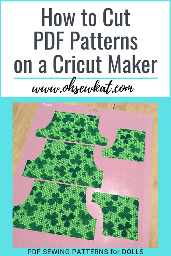 Use the Cricut Maker ecutter to cut sewing patterns and fabric to DIY doll clothes. Easy tutorial to cut PDF patterns on the Cricut Maker from Oh Sew Kat!
