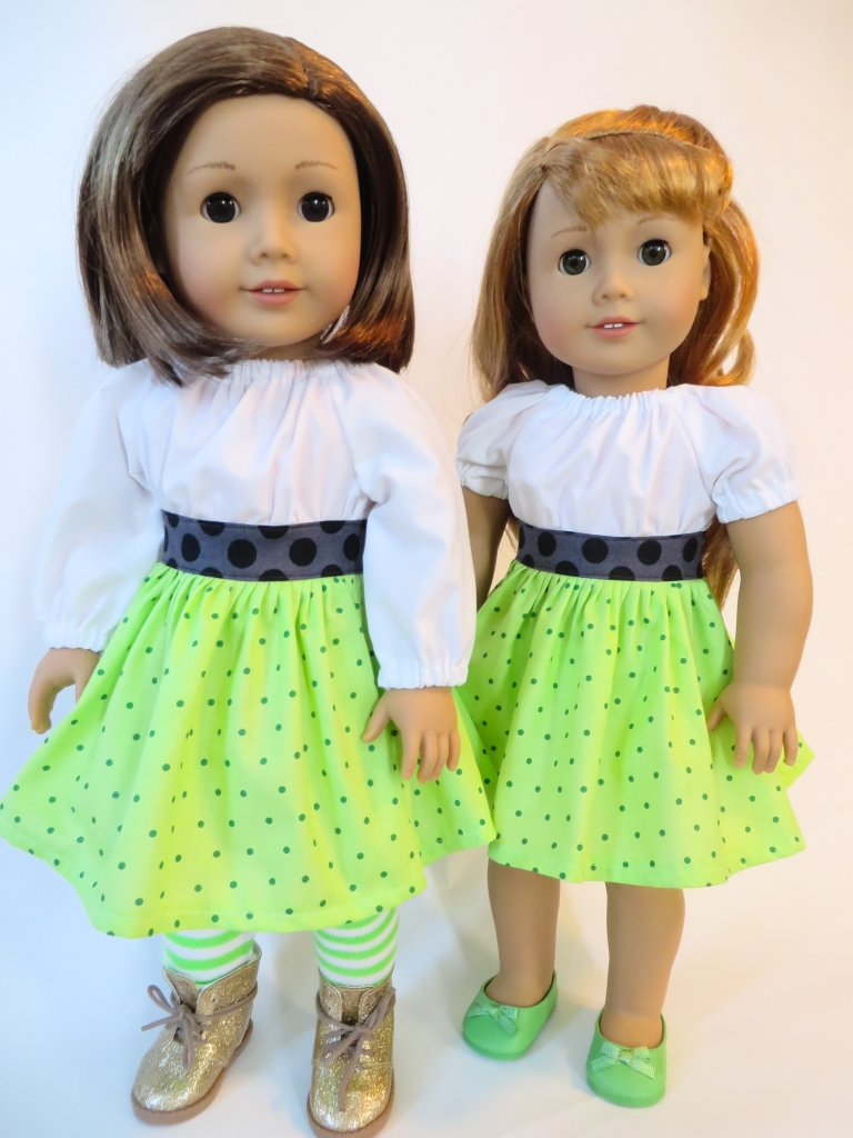 Make a Party Time Peasant Dress for your 18 inch American Girl doll for St Patrick's Day. Find the easy PDF print at home sewing pattern at ohsewkat.com. #irish #dolldress #18inch #sewingpattern #irishcraft
