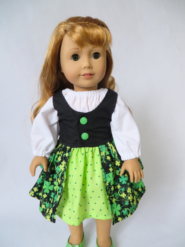18 inch doll in St Patrick's Day dress