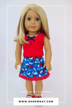 American Girl Doll Sixth Grade Skirt Popsicle Top