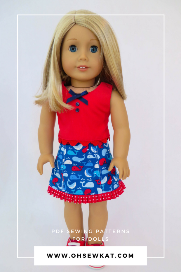 Try Oh Sew Kat! simple sewing patterns for 18 inch dolls like American Girl and WellieWishers. Easy skirt pattern can be made in less than two hours. Try a freebie at ohsewkat.com. #easysewingpattern #dollclothes #americangirldoll #ohsewkat