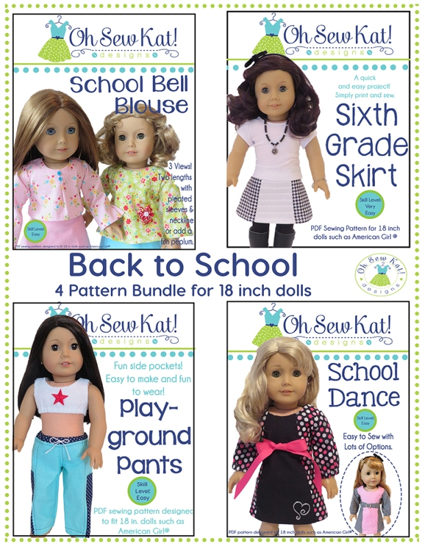 Doll Clothes Sewing Pattern bundle by OH Sew Kat